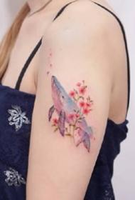一组小清新彩色唯美纹身图案