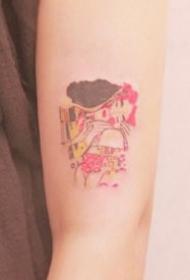 ins风女生卡通彩色小纹身图案