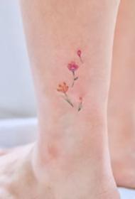 一组脚踝超美的小清新纹身