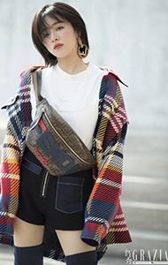 演员阚清子冬日穿搭时尚街拍图片