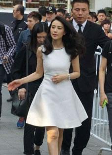 高圆圆现身活动 仙气白裙加身获众保镖贴身保护