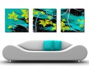 蓝色花朵三联挂画图片(30张)