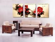 中国风牡丹三联挂画图片(7张)