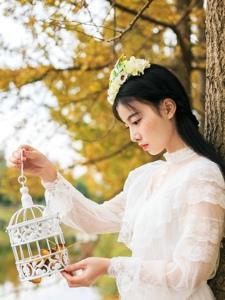 秋意白衣少女漫步枫林