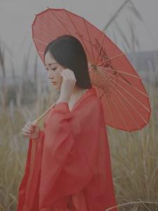 秋日芦苇地一袭红纱清新唯美