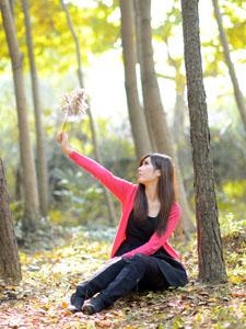 梧桐秋叶下的清纯可爱美女