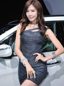 韩国车模车展上摆弄风姿