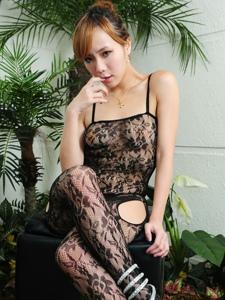 美女透视连体网袜私房翘臀美腿写真