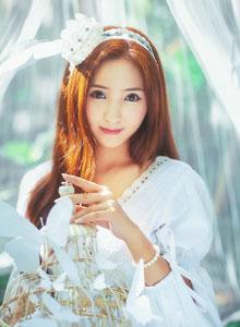 室外小树林纯白长裙唯美仙子性感写真