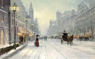 冬日雪景油画图片(24张)