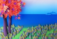 河流花朵纸雕图片(6张)