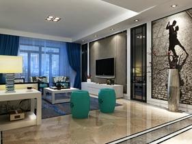 128平方米欧式风格公寓三居室家居装修效果图