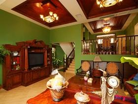 绿色温馨美式风格别墅装修案例