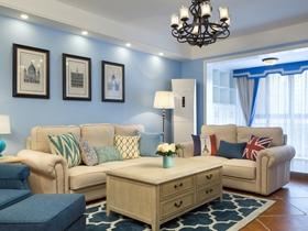 舒适温馨欧式86平二居室装修效果图