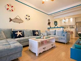 70平清新地中海风格两室一厅小户型
