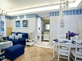 地中海清爽海边风两室装修效果图设计