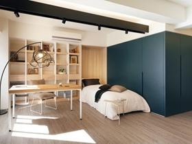 60平简约实木一居单身公寓设计效果图