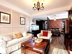 美式休闲三居室家装设计效果图