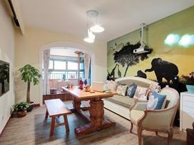 美式田园风格二居室设计效果图