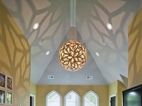 创意混搭清爽黄色客厅吊顶效果图