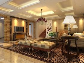 温馨黄色欧式风格客厅吊顶图片