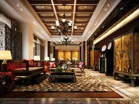 中式风格华丽褐色客厅吊顶装潢案例