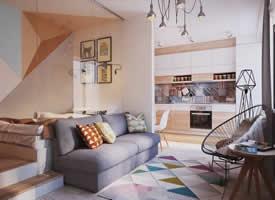 50平米精巧小公寓小小空间却有着完整的家居功能格局