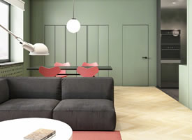 72㎡的公寓,珊瑚橙运用在家里的装修效果图
