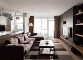 酷黑现代风格一居室装修效果图