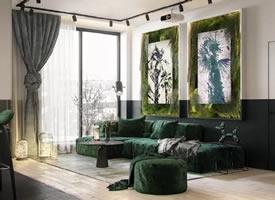 将绿色植物作为调色板的室内设计的公寓装修效果图