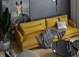 乌克兰灰黄搭配的简约公寓装修效果图