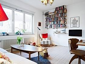 客厅书架办公桌椅装修案